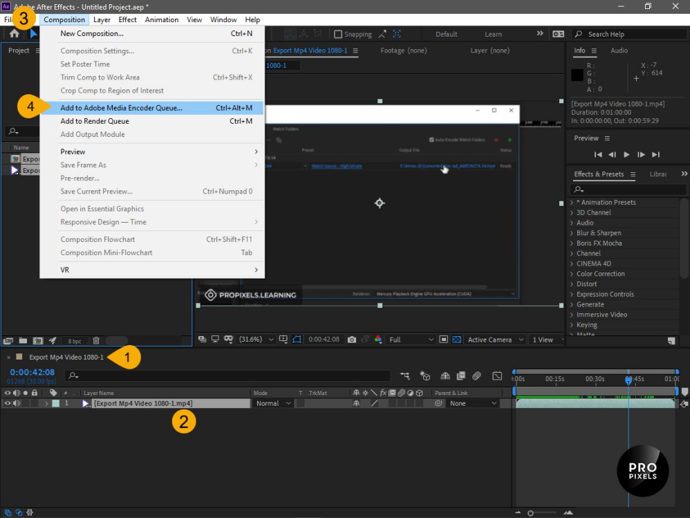 بازکردن نرم افزار Adobe Media Encoder در افترافکت