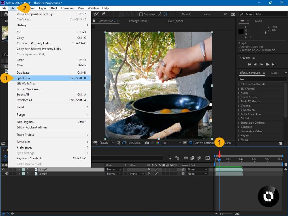 جدا کردن بخشی از فیلم با ابزار Split layer در افتر افکت
