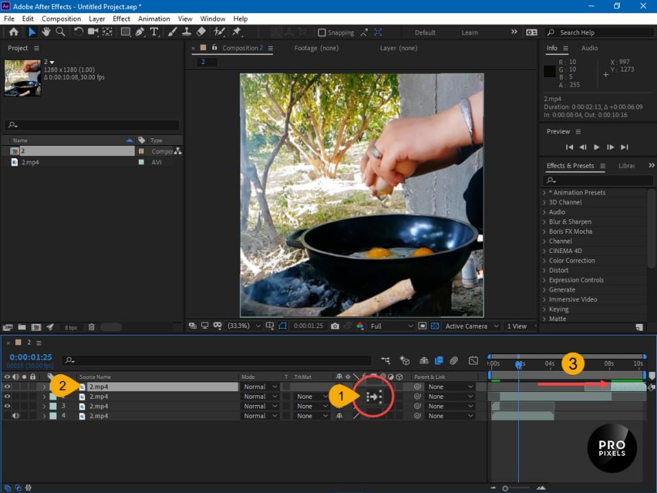 تنظیمات جهت اسلوموشن کردن فیلم در افترافکت